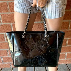 CHANEL Bags - CHANEL Patent Leather Triple CC Logo Chain Tote